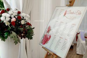 Tablo z listą gości weselnych - motyw piwonii