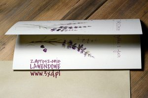 Zaproszenie LAWENDOWE - z motywem ręcznie malowanym