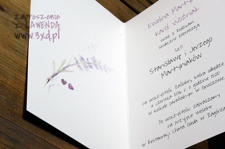 Zaproszenie z LAWENDĄ - malowane