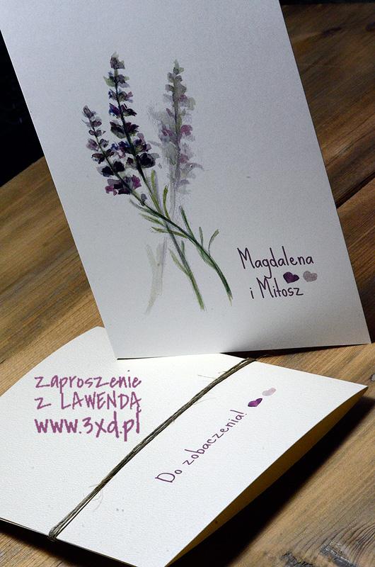 Zaproszenie z LAWENDĄ - motyw ręcznie malowany