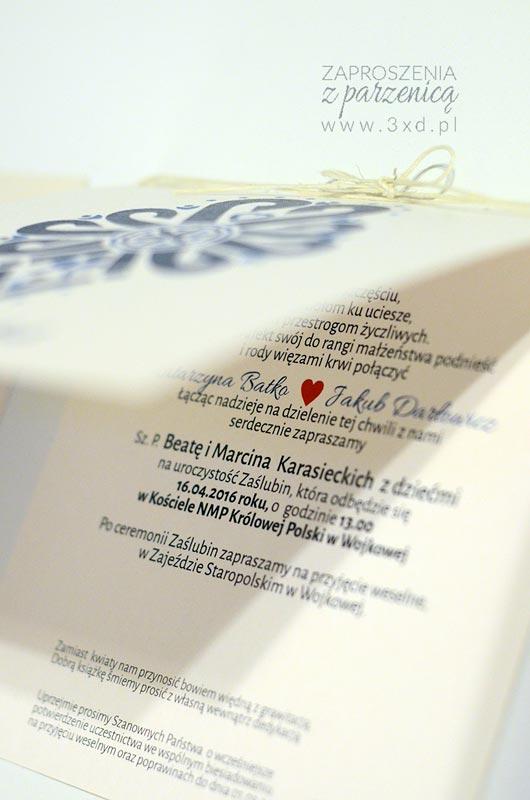 Góralskie zaproszenia ślubne z kobaltową PARZENICĄ