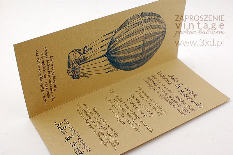 Zaproszenie Vintage Podróż Balonem