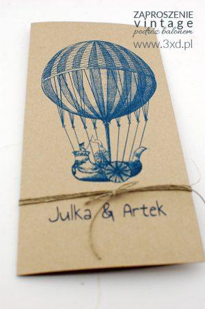 Zaproszenie ślubne VINTAGE Podróż Balonem