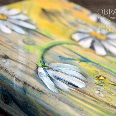 """OBRAZEK ręcznie malowany na drewnie - """"Łąka Latem Pachnąca"""""""