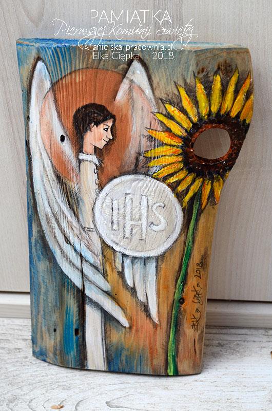 Anioły ręcznie malowane na drewnie - oryginalna i niepowtarzalna pamiątka dla chłopca z okazji Pierwszej Komunii Świętej