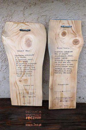 Dedykacja na rewersie Anioła wypisana ręcznie